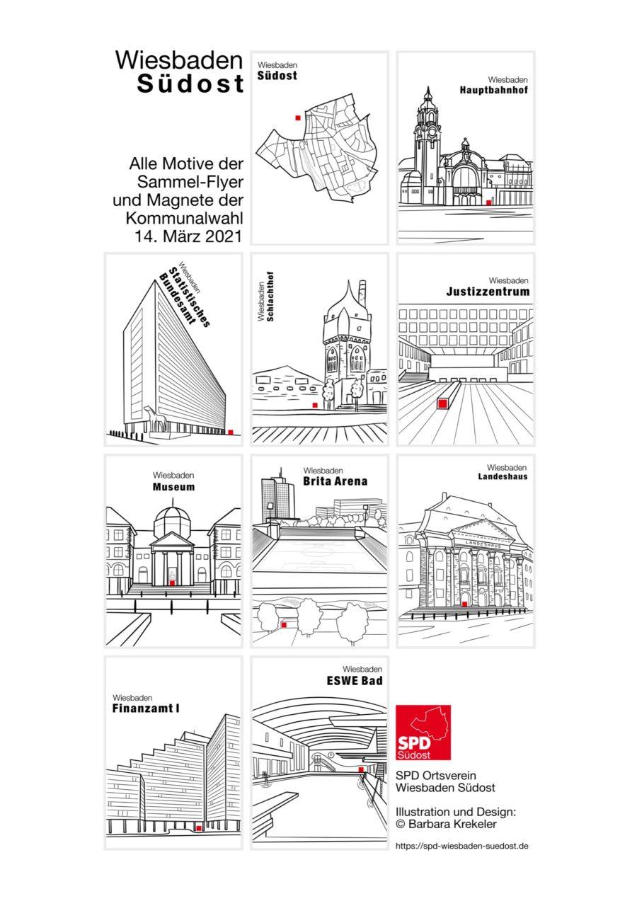 Übersicht über alle Sammelflyer der Kommunalwahl 2021 in Wiesbaden